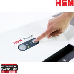 Broyeuse de papier HSM Pure 530 - Coupe croisée 4,5 x 30 mm