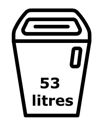 Le réceptacle du IDEAL 8283 est de 53 litres