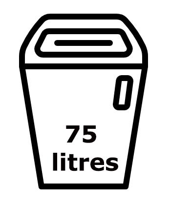 La contenance du destructeur de papier IDEAL 2503 ets de 75 litres